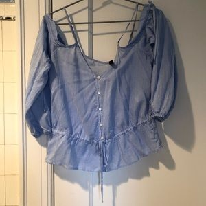 H&M Blue and White Pinstripe Buttonup off shoulder
